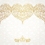 Ornate vector border with hearts in line art style. Stock Photography