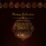 Ornate vector border and place for your chocolate design. Vintage ornate cards in oriental style. Golden Eastern floral Royalty Free Stock Photography
