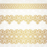Ornate vector borders with hearts in line art style. Royalty Free Stock Images