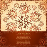 Ornate vector doodle flowers background Royalty Free Stock Images