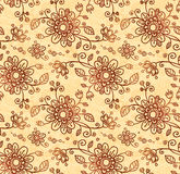 Ornate vector doodle flowers seamless pattern Stock Image