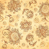 Ornate vector doodle flowers seamless pattern Royalty Free Stock Photos