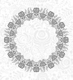 Ornate vector floral frame in Russian style Gzhel Royalty Free Stock Image