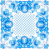 Ornate vector floral frame in style Gzhel Royalty Free Stock Photo