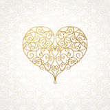 Ornate vector heart in line art style. Royalty Free Stock Photography