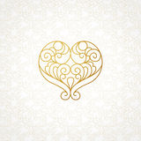 Ornate vector heart in line art style. Stock Photo