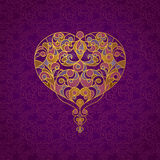 Ornate vector heart in line art style. Royalty Free Stock Photo