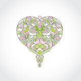 Ornate vector heart in line art style. Spring colors. Stock Photos
