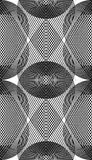 Ornate vector monochrome abstract background with overlapping. Black lines. Symmetric decorative graphical pattern, geometric stripy illustration Royalty Free Stock Images