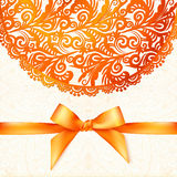 Ornate vector orange greeting card template Stock Images
