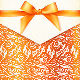 Ornate vector orange greeting card template Royalty Free Stock Photo