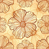 Ornate vector poppies seamless pattern Royalty Free Stock Photos