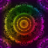 Ornate vector rainbow neon mandala Royalty Free Stock Photography