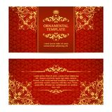 Ornate vector set banners in Eastern style Template with ornamental gold frame and patterned background. royalty free illustration