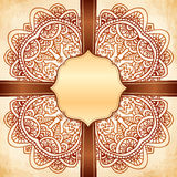 Ornate vector vintage background with brown ribbon Stock Images