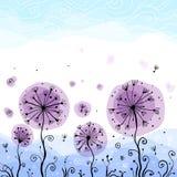 Ornate vector violet dandelions illustration Royalty Free Stock Image