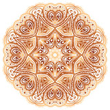 Ornate vintage beige vector doodle circle pattern Royalty Free Stock Photography