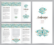Ornate vintage booklet in Eastern style. Ornate vintage booklet with oriental floral decor. Bright floral decoration in Eastern style. Template frame for Royalty Free Stock Photos