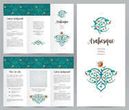 Ornate vintage booklet in Eastern style. Ornate vintage booklet with oriental floral decor. Bright floral decoration in Eastern style. Template frame for Royalty Free Stock Photo