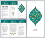 Ornate vintage booklet in Eastern style. Ornate vintage booklet with oriental floral decor. Bright floral decoration in Eastern style. Template frame for Royalty Free Stock Image