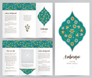 Ornate vintage booklet in Eastern style. Ornate vintage booklet with oriental floral decor. Bright floral decoration in Eastern style. Template frame for Stock Photography