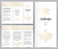 Ornate vintage booklet in Eastern style. Ornate vintage booklet with oriental floral decor.Golden decoration in Eastern style. Template frame for brochure Stock Image