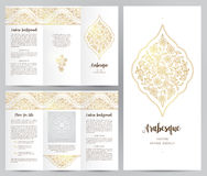 Ornate vintage booklet in Eastern style. Ornate vintage booklet with oriental floral decor.Golden decoration in Eastern style. Template frame for brochure Stock Photos