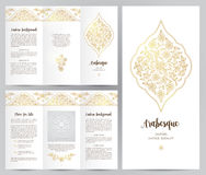 Ornate vintage booklet in Eastern style. Ornate vintage booklet with oriental floral decor.Golden decoration in Eastern style. Template frame for brochure Royalty Free Stock Photos