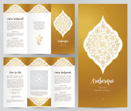 Ornate vintage booklet in Eastern style. Ornate vintage booklet with oriental floral decor.Golden decoration in Eastern style. Template frame for brochure Stock Photography