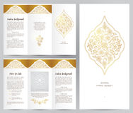 Ornate vintage booklet in Eastern style. Ornate vintage booklet with oriental floral decor.Golden decoration in Eastern style. Template frame for brochure Royalty Free Stock Photography