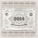 Ornate vintage calendar of 2014. Lettering template design - Ornate vintage calendar of 2014 on a grunge background Royalty Free Stock Image