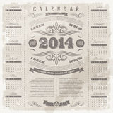 Ornate vintage calendar of 2014. Lettering template design - Ornate vintage calendar of 2014 on a grunge background Stock Photo
