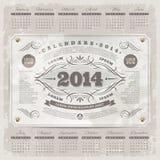 Ornate Vintage Calendar Of 2014 Royalty Free Stock Image