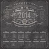 Ornate vintage calendar of 2014. Template design - Ornate vintage calendar of 2014 on a grunge black background Royalty Free Stock Photo
