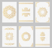 Ornate vintage cards with line art frames and borders Royalty Free Stock Image