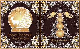 Ornate vintage Christmas greeting cards with floral paper cut out border, xmas tree, golden angels, snowflakes and golden globe wi royalty free illustration