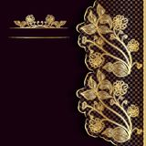 Ornate vintage dark background with golden lace. Template for greeting card, invitation or cover. Stock Photo