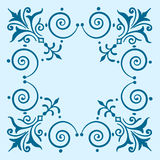 Ornate vintage filigree frame blue Royalty Free Stock Image