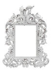 Ornate vintage frame. Ornate vintage white frame, isolated on white Stock Image
