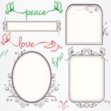 Ornate vintage frame set with birds Royalty Free Stock Photography