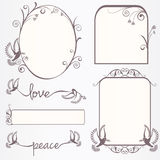Ornate vintage frame set with doves Royalty Free Stock Image