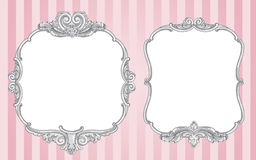 Ornate vintage frames. Two vector ornate vintage frames on a striped pink background vector illustration