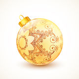 Ornate vintage golden isolated Christmas ball Stock Images