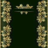 Ornate vintage green background with golden lace. Template for greeting card, invitation or cover Stock Photography