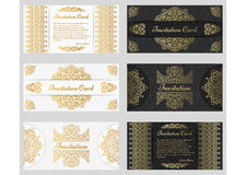 Ornate vintage invitation cards with line art frames and borders Stock Photo