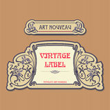 Ornate vintage label in style Art Nouveau Stock Photo