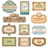 Ornate vintage labels in style Art Nouveau Stock Photos