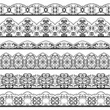 Ornate vintage line border set isolated on white background. Vector filigree borders Royalty Free Stock Image