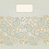 Ornate vintage seamless border. With lacy ornament. Persian style background. Place for your text. It can be used for decorating of invitations, greeting cards Royalty Free Stock Photography