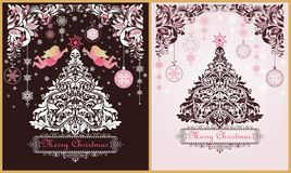 Ornate vintage sweet Christmas greeting cards variation with floral decorative paper cut out border, xmas tree, pink angels and ha royalty free illustration
